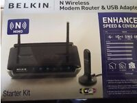 Belkin N Wireless modem router &USB Adapter bundle