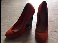 Tangerine suede heels by Asos - size UK 6