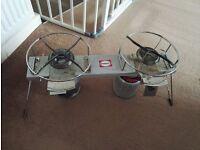 Double portable stove, primus