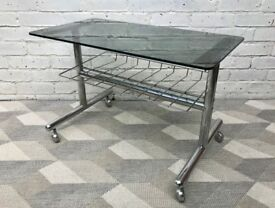 Mid Century Coffee Table Chrome Glass 1970's French #653