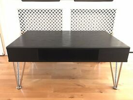 Retro Coffee Table Black Oak & Chrome