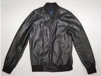 Zara Men - Black Faux Leather Bomber jacket - UK Size M (Medium)