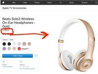 NEW- Beats Solo3 Wireless On-Ear Headphones - Gold