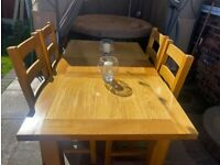 **Absolute Bargain**Dining Table and Four Solid Heavy Chairs **House of Oak**