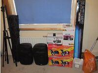 DJ Setup Speakers, Lights, Smoke Machine, Stands & Cables
