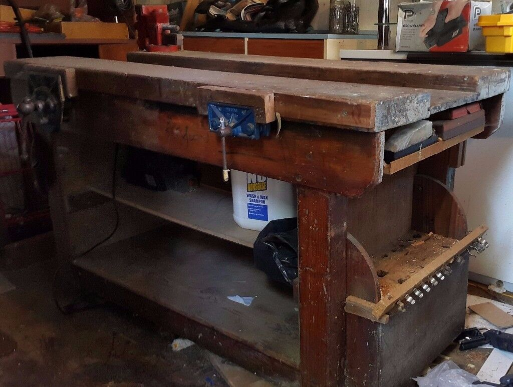 Rare Heavy Duty Old School Solid Woodworking Bench 4 5 X 3 Ft