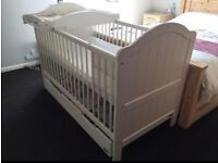 Cot/Bed With Baby Changer & Under Draw Storage