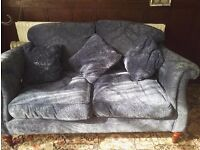 derwent two seater sofa in blue crushed velvet thick fabric removable cushion covers