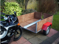 Trailer, also carries motor bike or quad or disability scooter.