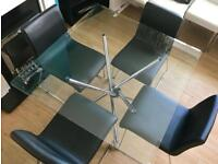~GLASS DINING TABLE & 4 BLACK CHAIRS~