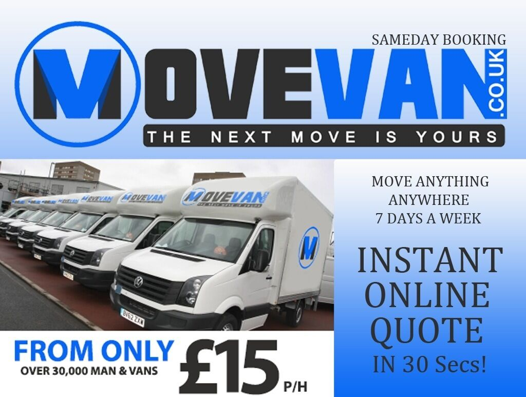 UK & EUROPE CHEAPEST & LARGEST MAN & VAN FROM £15P/H, INSTANT ONLINE QUOTE IN 30 SECS! MT