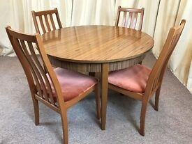 Retro Dining Table & Chairs - Round Extendible Table 1960's Teak Formica & 4 Chairs