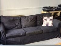 Large comfy 3 seater black Ikea couch for sale