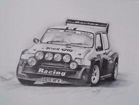 Hand drawn A2 artwork: Metro 6R4 Group B rally