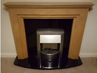 Black Marble Electric Fireplace with Variable Radiator & Realistic Lighting
