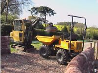 Mini digger /Skip loading dumper hire with driver/Groundworks/Landscaping /Construction