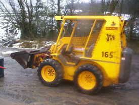 jcb skidsteer 165 with bucket and bale spike