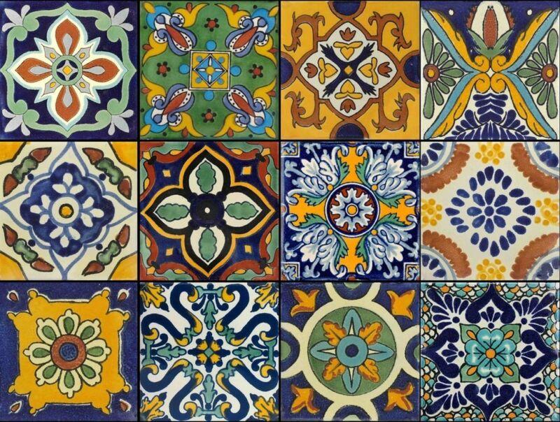 Tile Stickers 40pc Kitchen Bath Floor Mexican Talavera TR002  mix