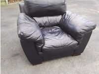 Black leather armchair / free local delivery
