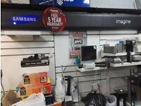 Samsung TV Wall Display with lights and Shelving Racking Back Panels and Lights