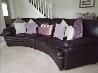 Brown Leather Curved Settee, Two Seater and Large Foot stool