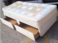 SINGLE DIVAN BED WITH DRAWERS & MATTRESS - ON WHEELS - QUICK SALE - £25 O N O