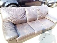 LEATHER SOFAS 3 SEATERS X 2 FOR FREE , THEY ARE A BIT WORN BUT VERY SOLID COLLECT CAN DELIVER