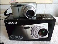Ricoh CX5 digital camera. One owner. Original box & manual etc