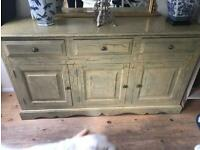 Beautiful Crackle Painted Green Sideboard
