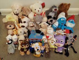 HUGE BUNDLE OF 32+ TEDDY BEARS / CHARACTERS INC THOMAS, SMURFS, BALOO, TATTY TEDDY, MR MEN &NODDY