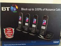 BT 8500 QUAD DIGITAL CORDLESS TELEPHONE & ANSWER MACHINE & ADVANCED CALL BLOCKER