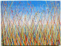 LARGE ABSTRACT NEW LANDSCAPE GRASS MEADOW & BLUE SKY MODERN ART PAINTING ON STRETCHED CANVAS