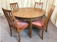 Retro Dining Table & 4 Chairs - Round Extendable Table 1960's Teak Formica