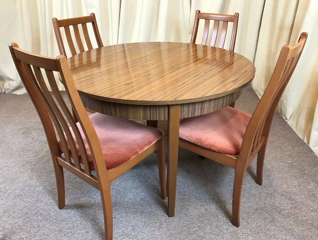 ... Retro Dining Table 4 Chairs Round Extendable Table 1960 S Teak Formica  ...