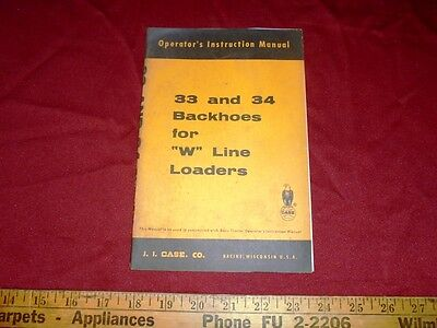 Case 33 And 34 Backhoes For W Line Loaders Operators Manual 9-72681