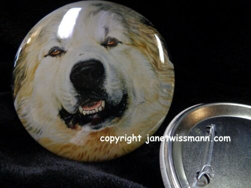 26 LARGE BUTTON PINS, 3-1/2 inch diam. Great Pyrenees Dog Show Trophy Prize Gift