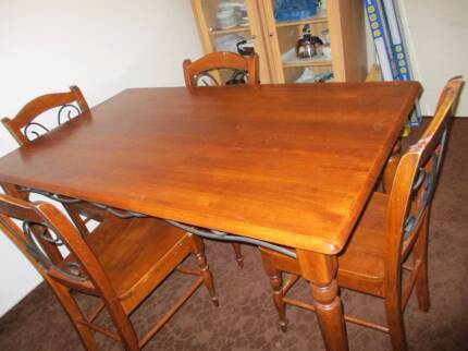 timber and wrought iron timber dining table for 6 people