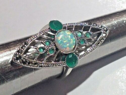 Art Deco 20s Emerald & opal Openwork Cocktail Statement Ring Sterling Silver 8 P