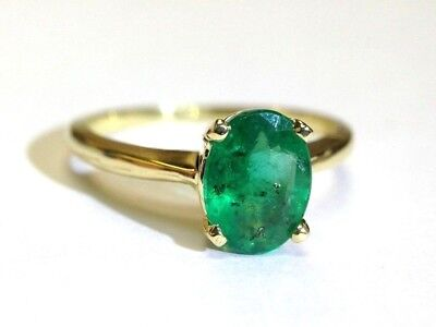 18K Yellow Gold Natural 1.25CT Oval Emerald Solitaire Ring Size 5.5 (Oval Emerald Solitaire Ring)
