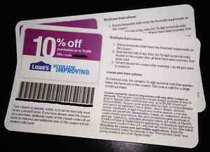 Five 5 Authentic Lowes 10 Off Discount Coupons Expire 10 10 2013 Home Depot   eBay