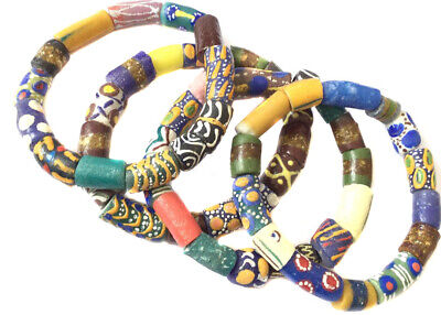 Handmade Ghana Green and yellow multi mixed bracelet-African Trade Beads-Ghana