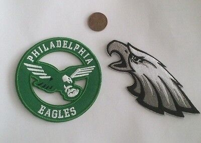 (2)-Philadelphia Eagles vintage embroidered iron  on logo patches  Nice!!