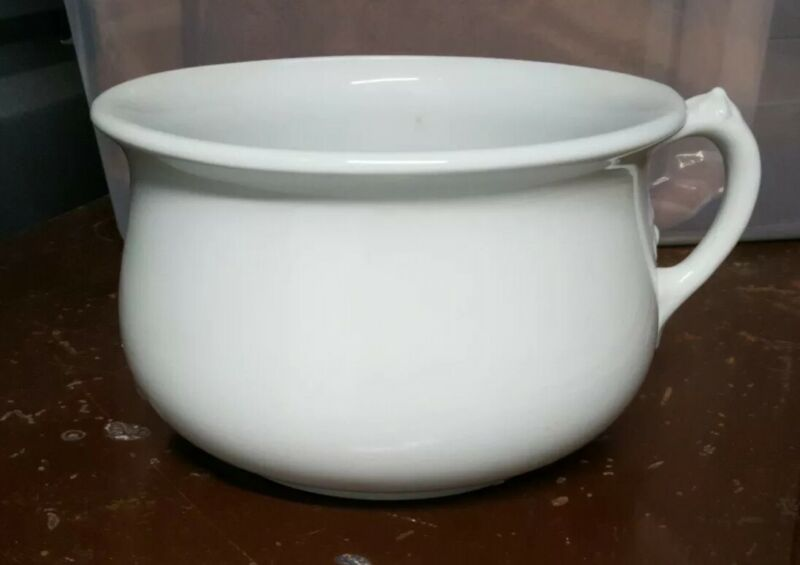 Antique Royal Ironstone China White Chamber Pot Johnson Bros. England 1888-1890