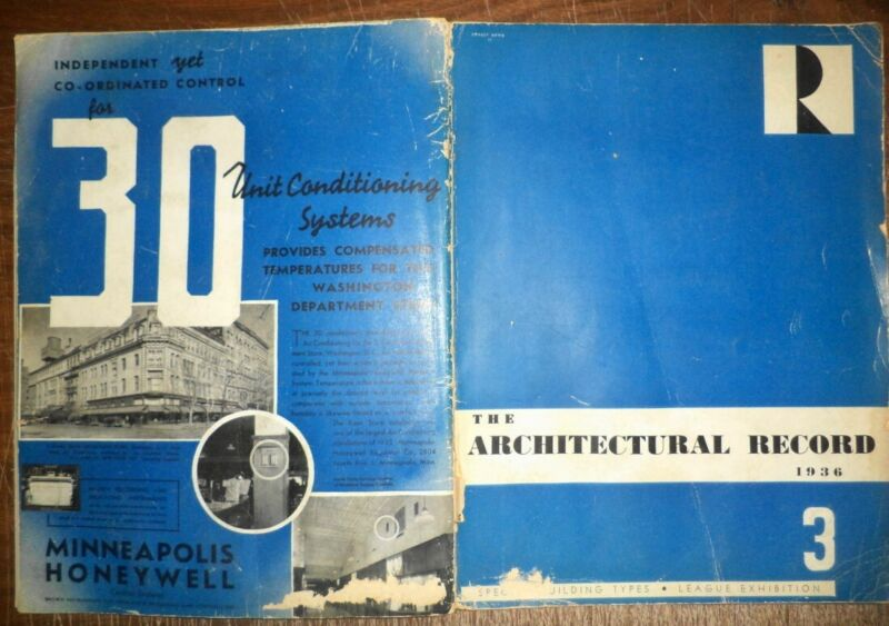 VINTAGE APRIL 1936 ARCHITECTURAL RECORD MODERN HOMES & BUILDINGS DESIGN HISTORY