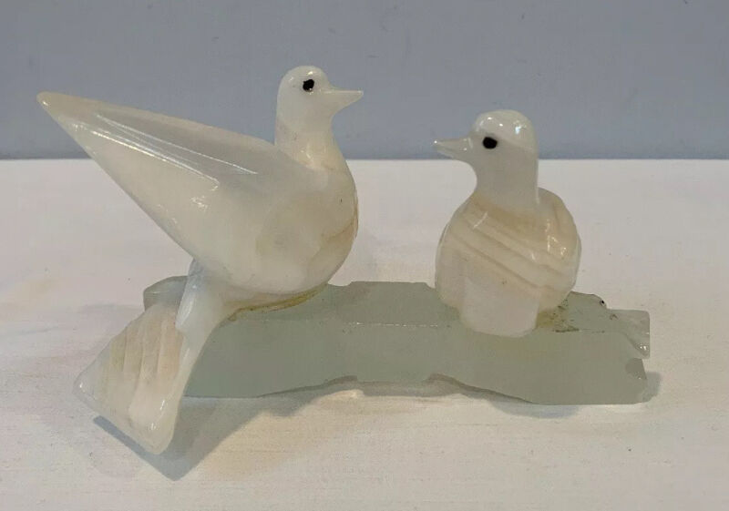 VTG Carved White Marble Pair of Love Birds Doves On Branch Made In Brazil EXC