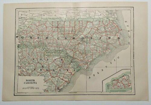 1894 Vintage NORTH CAROLINA Atlas Map Authentic Antique Encyclopedia Britannica