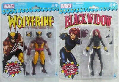 "WOLVERINE & BLACK WIDOW Marvel Legends Retro Classic Hasbro 2017 6"" inch figures"