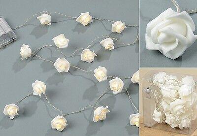 20 Stk LED Lichterkette Rosen Foam weiss Valentinstag Hochzeit Tischdeko Rose