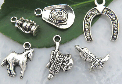 6 COWBOY Charms Tibetan Silver Charm Collection Set Lot Rustic Country Western