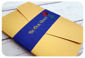 Pocketfold Wallet Wedding Invitation Sample -  Disney Beauty and the Beast Rose